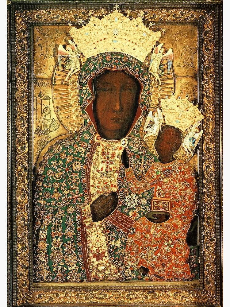Polish Black Madonna Icon, Christian Catholic art. Our Lady of Czestochowa wall art by tanabe