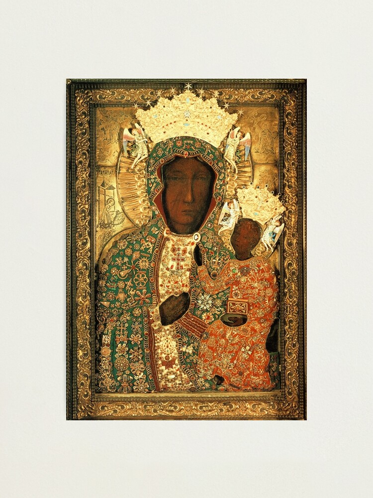 Alternate view of Polish Black Madonna Icon, Christian Catholic art. Our Lady of Czestochowa wall art Photographic Print