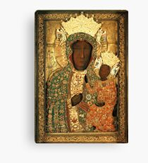 Polish Black Madonna Icon, Christian Catholic art. Our Lady of Czestochowa wall art Canvas Print