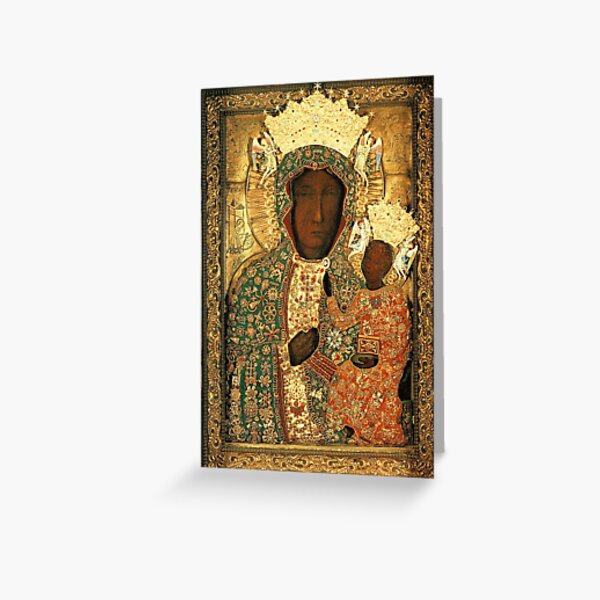Polish Black Madonna Icon, Christian Catholic art. Our Lady of Czestochowa wall art Greeting Card