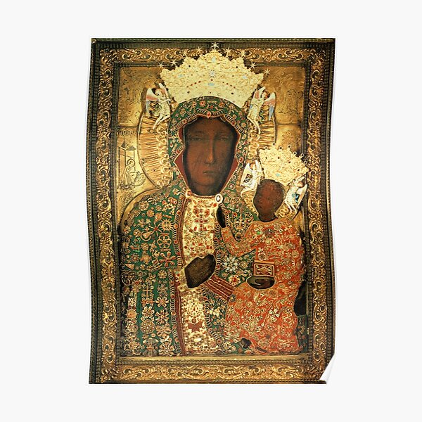 Polish Black Madonna Icon, Christian Catholic art. Our Lady of Czestochowa wall art Poster
