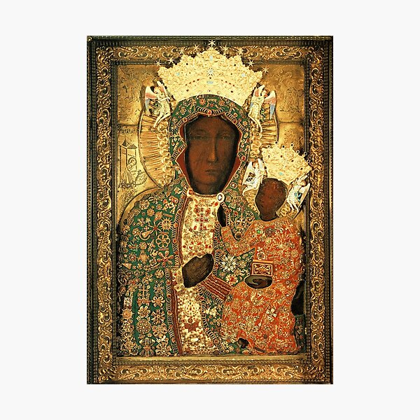 Polish Black Madonna Icon, Christian Catholic art. Our Lady of Czestochowa wall art Photographic Print