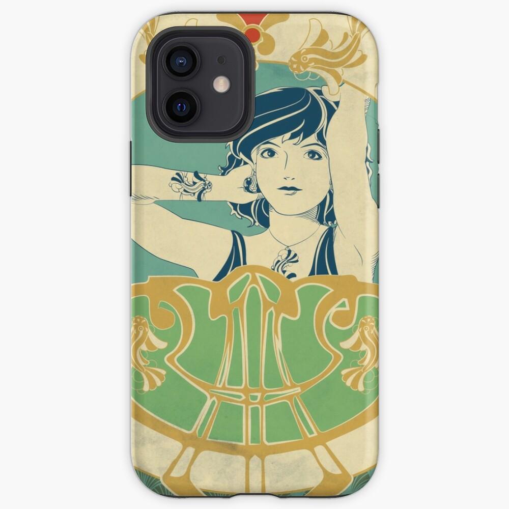 Coque iPhone «Parure Poisson bleu - Illustration Art Nouveau»