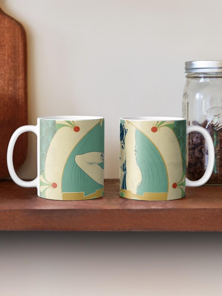 Mug ''Parure Poisson bleu - Illustration Art Nouveau': autre vue