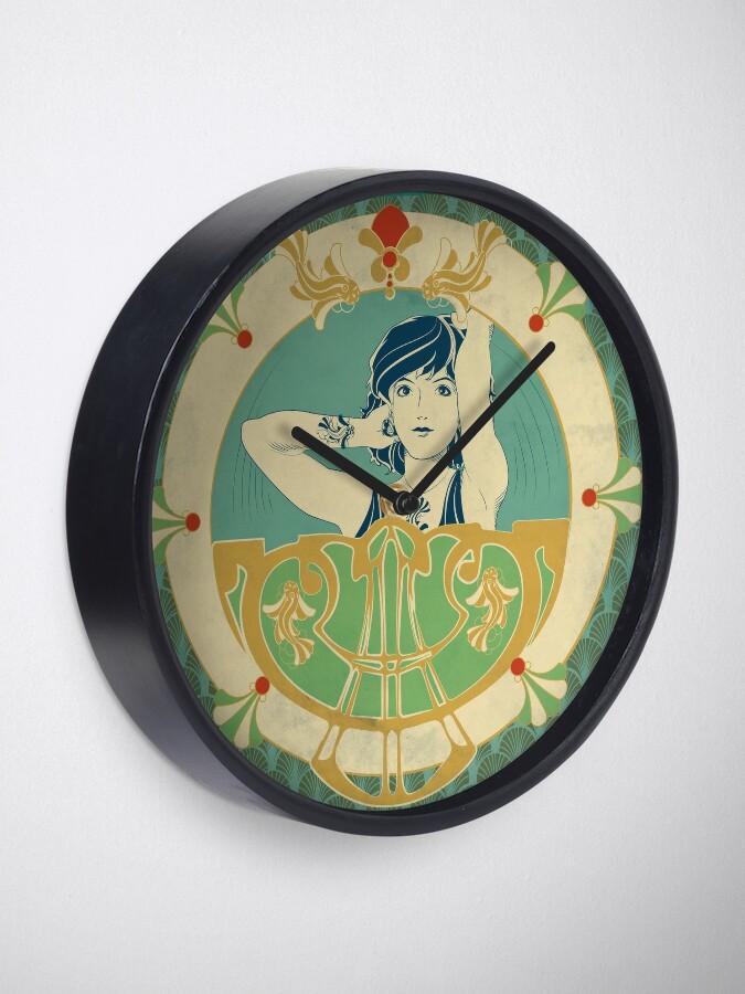 Horloge ''Parure Poisson bleu - Illustration Art Nouveau': autre vue