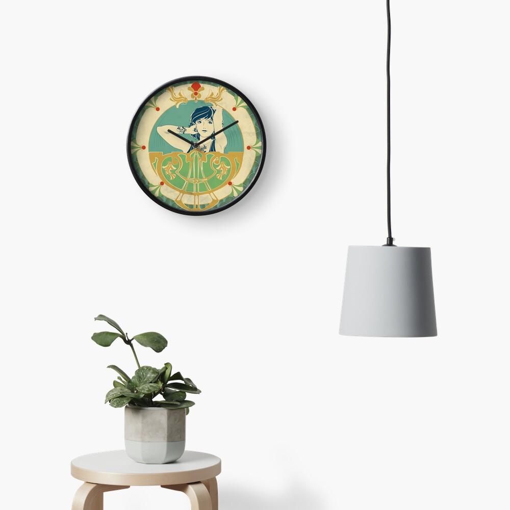 Horloge «Parure Poisson bleu - Illustration Art Nouveau»
