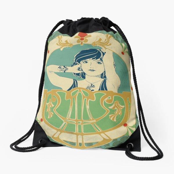 Parure Poisson bleu - Illustration Art Nouveau Sac à cordon