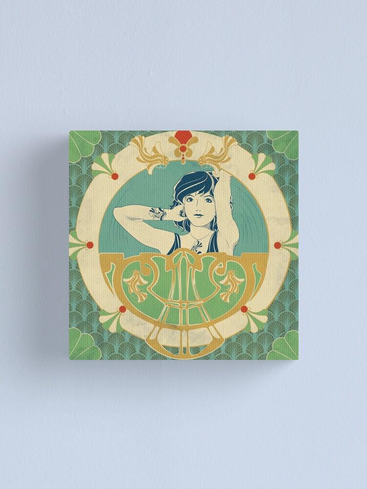 Impression sur toile ''Parure Poisson bleu - Illustration Art Nouveau': autre vue