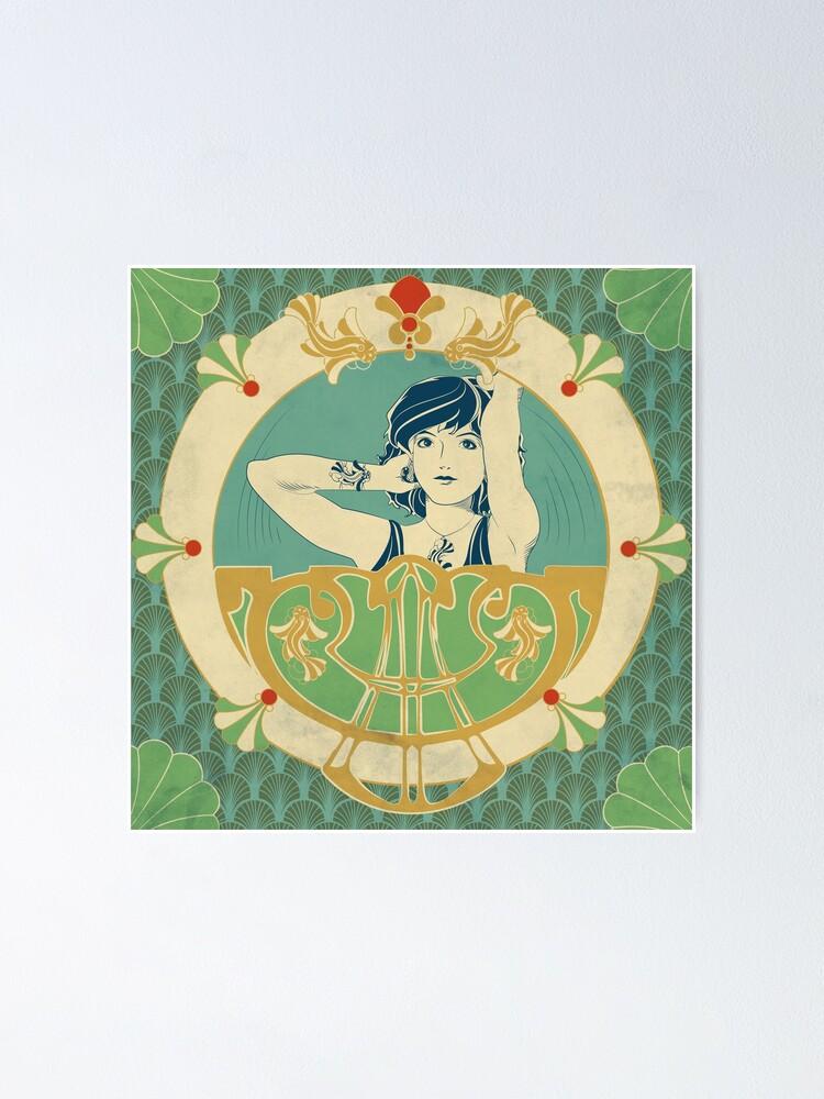 Poster ''Parure Poisson bleu - Illustration Art Nouveau': autre vue