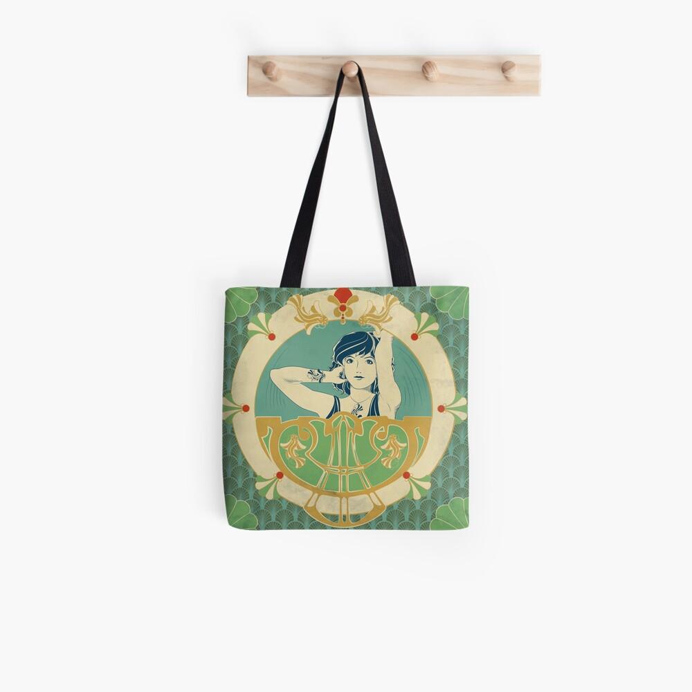 Tote bag «Parure Poisson bleu - Illustration Art Nouveau»
