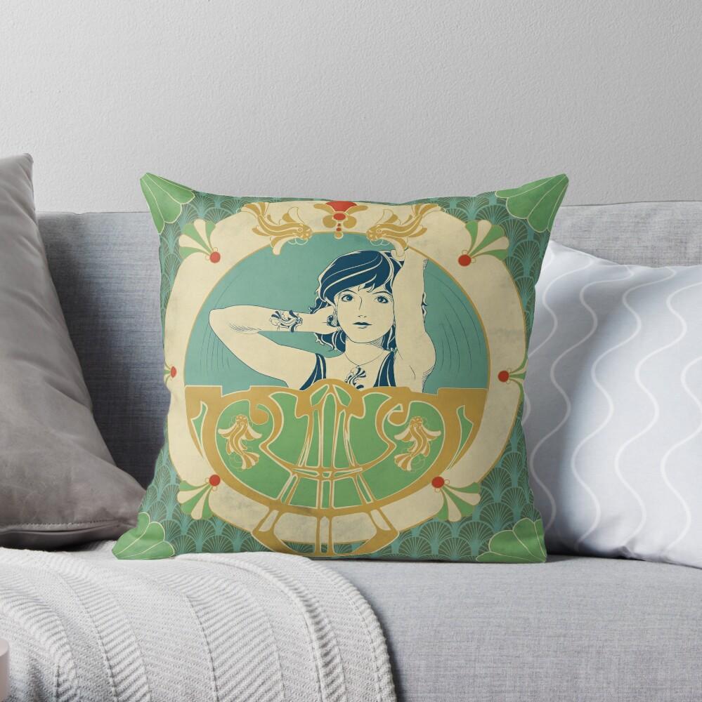 Coussin «Parure Poisson bleu - Illustration Art Nouveau»