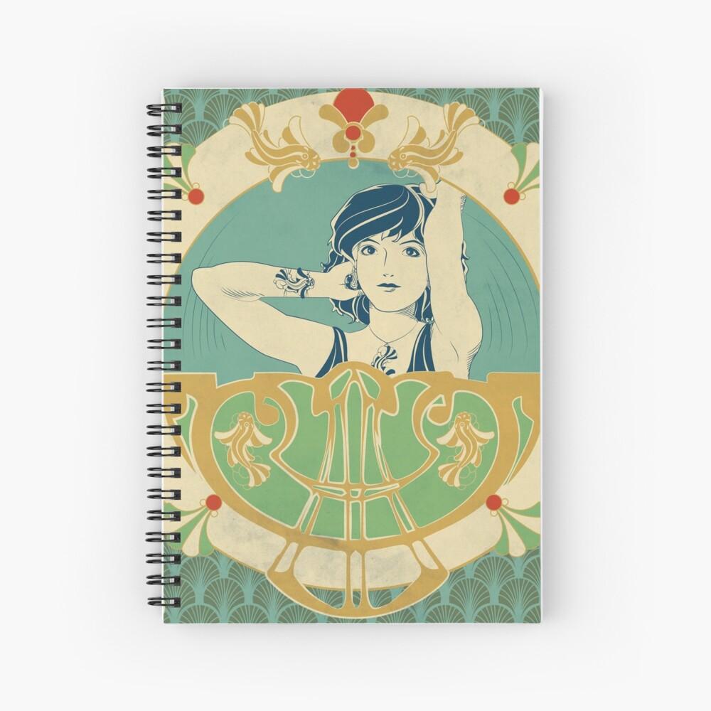 Cahier à spirale «Parure Poisson bleu - Illustration Art Nouveau»
