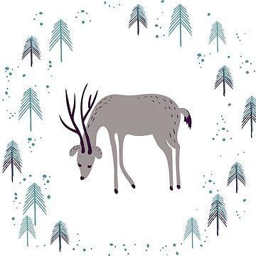 Deer in winter pine forest by Lidiebug