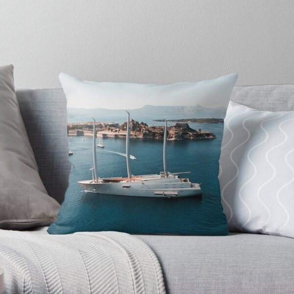 Superyacht at old Fortress of Corfu Throw Pillow