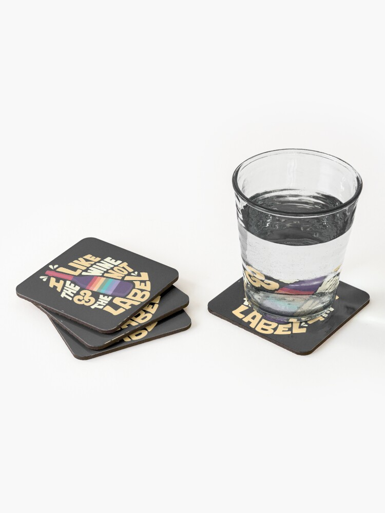 Alternate view of I like the wine and not the label - Schitt's Creek Coasters (Set of 4)
