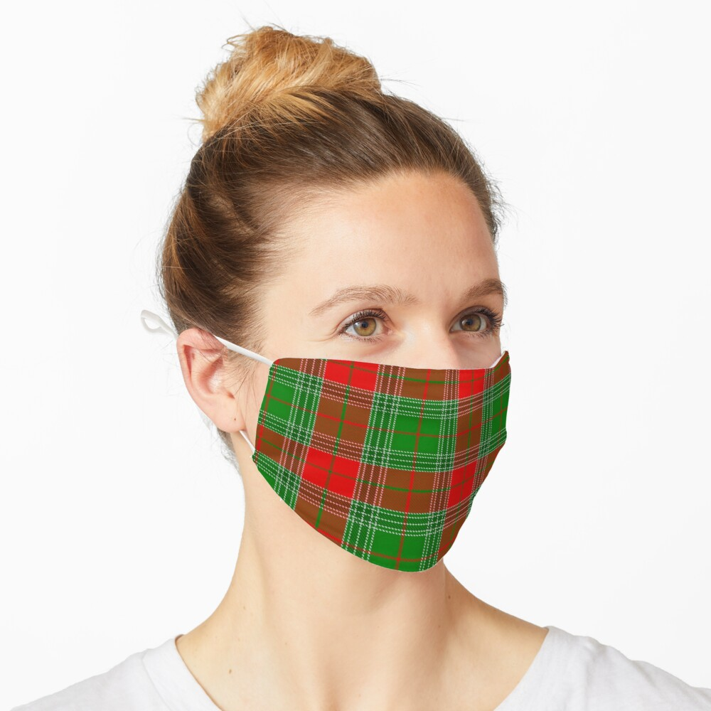 Red and Green Plaid, Red and Green Check, Tartan Mask
