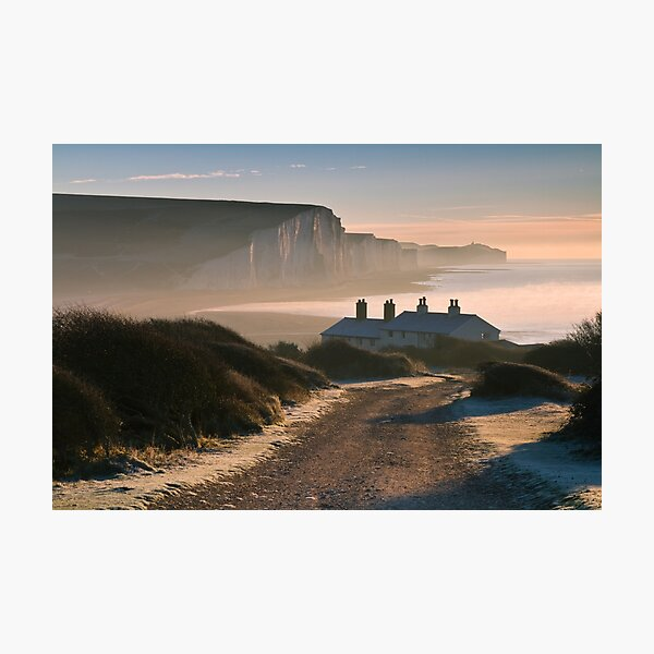 Sussex coast guard cottages Photographic Print