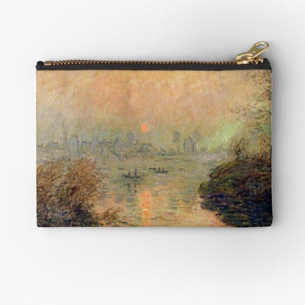 """Sun Setting Over The Seine at Lavacourt"" | Claude Monet Fine Art  Zipper Pouch"