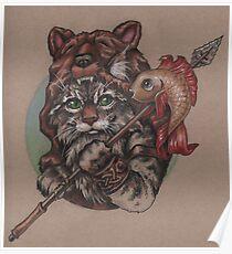 Wikinger Katzenbär (mit Fisch) Poster