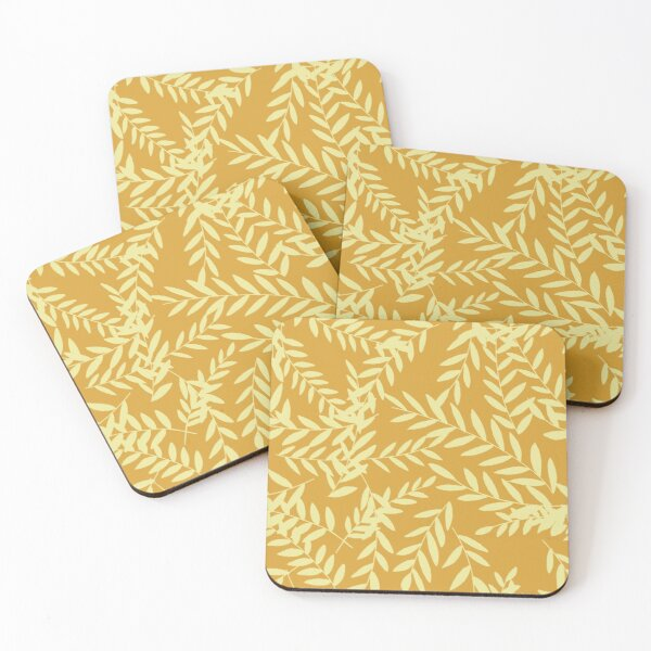 Leaves and Stems -Yellow Coasters (Set of 4)