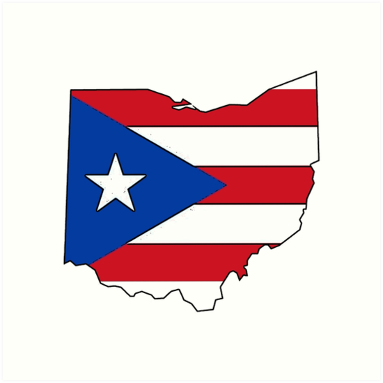 puerto rico flag ohio outline art prints by artisticattitud redbubble