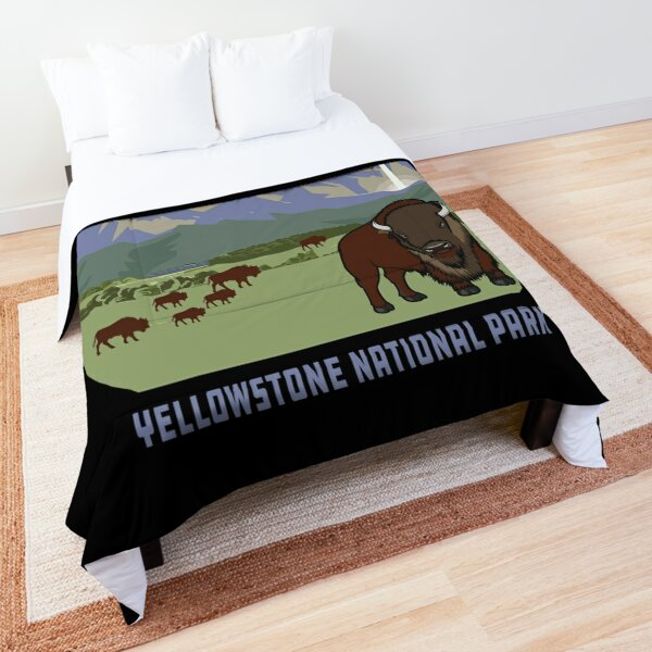 Yellowstone National Park Bison Mountain Adventure Vintage Retro Comforter