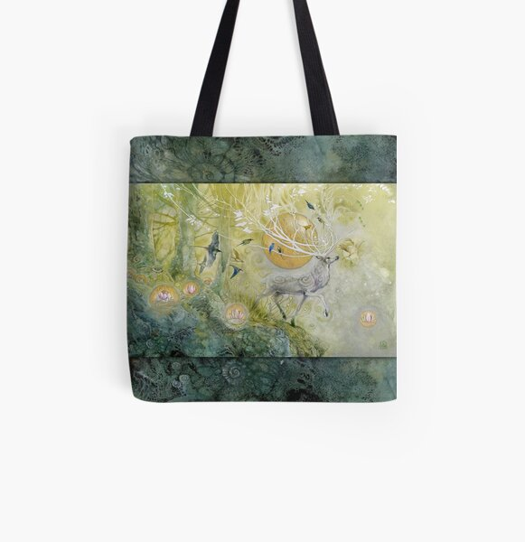 White Stag Emerald Forest All Over Print Tote Bag
