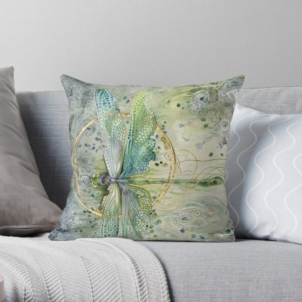 Beautiful Enchanted Dragonfly  Throw Pillow