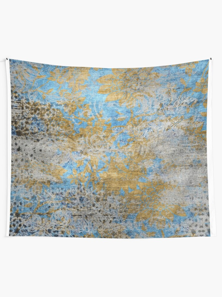 Alternate view of Blue Gold Grey Floral Pattern Tapestry