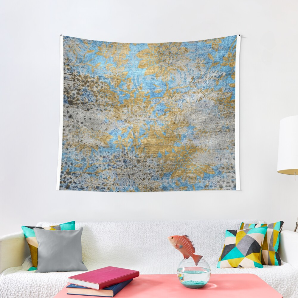 Blue Gold Grey Floral Pattern Tapestry