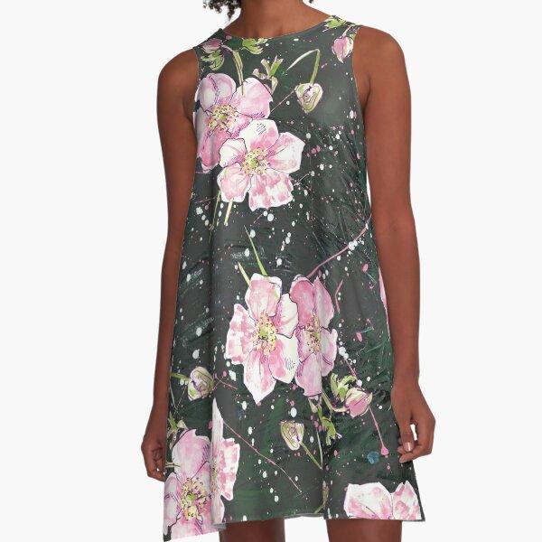 Allover deep, dark & floral A-Line Dress