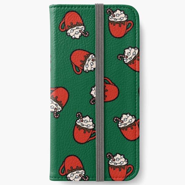 Festive Hot Cocoa Pattern in Green iPhone Wallet