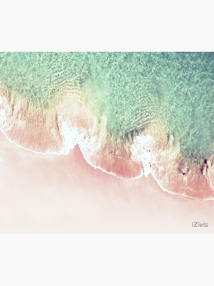 Green and Coral Ocean Seashore and Scalloped Coral Beach Waves by IZiets