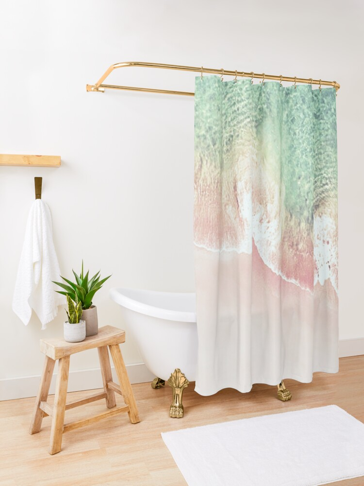 Alternate view of Green and Coral Ocean Seashore and Scalloped Coral Beach Waves Shower Curtain