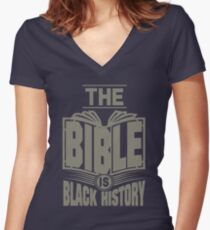 The Bible is Black History | Hebrew Israelite Clothing Women's Fitted V-Neck T-Shirt