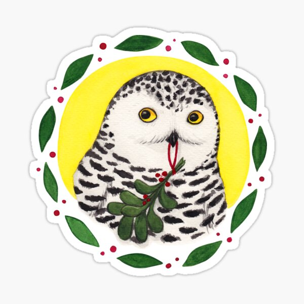 Mistletoe Owl Sticker