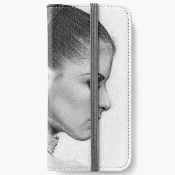 Pencil Portrait of Woman iPhone Wallet