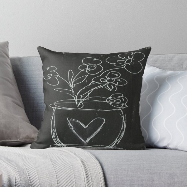 BLACK & WHITE VASE Throw Pillow