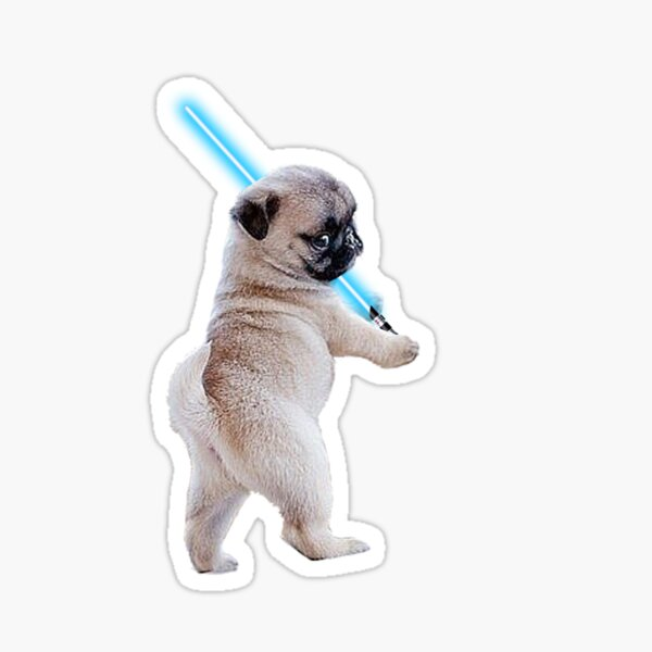 Pug with Lightsaber Sticker