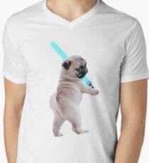Pug with Lightsaber Men's V-Neck T-Shirt