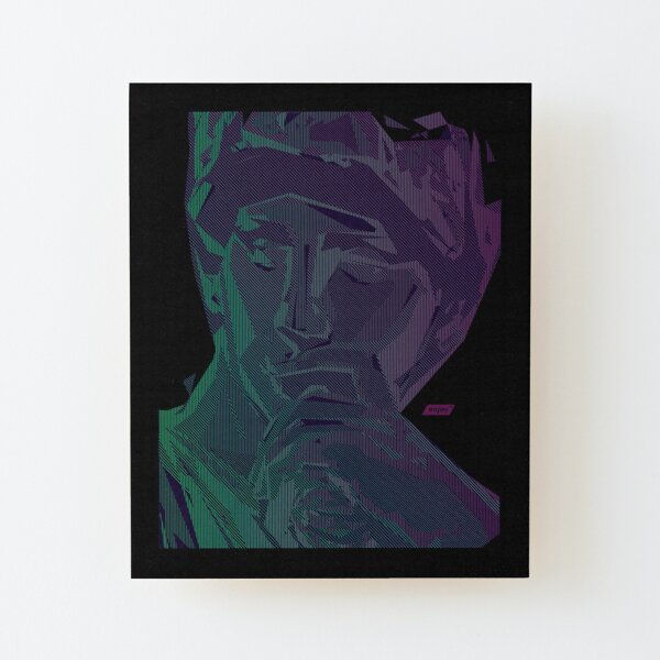Lorenzo Scanline Portrait | Night Time Wood Mounted Print