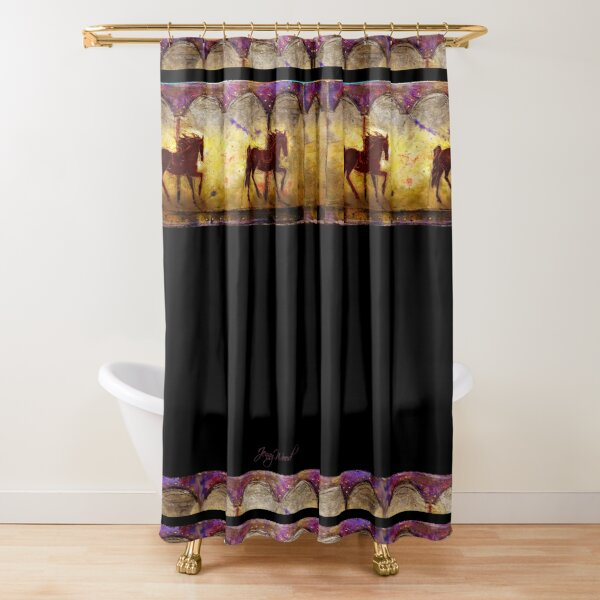 Horse carousel lino cut print Shower Curtain