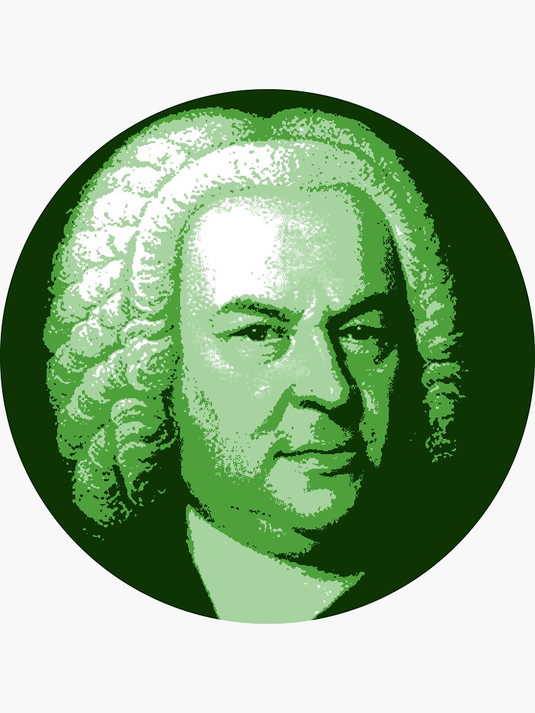 Johann Sebastian Bach Dark Green Portrait by zavadadesigns