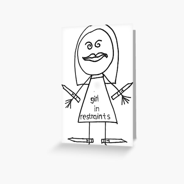 Girl In Restraints Drawing Greeting Card
