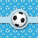 Football Soccer Ball Sport Athletics Fun Blue Pattern by Beverly Claire Kaiya