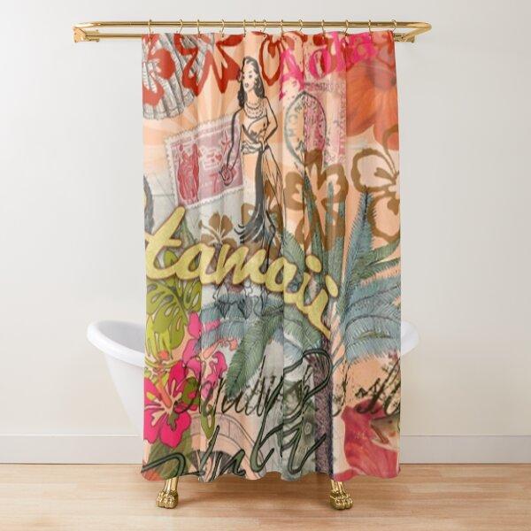 Collage Tropical Cortina de ducha