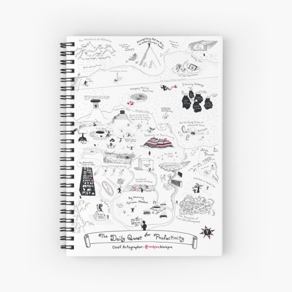 The Map of the Quest for Daily Productivity Spiral Notebook