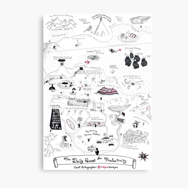 The Map of the Quest for Daily Productivity Metal Print