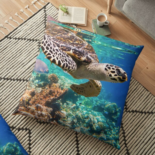 Blue ocean sea turtle - summer sea swimming turtle Floor Pillow