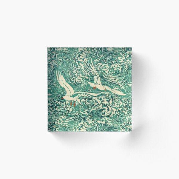 Teal Sea Gulls Acrylic Block